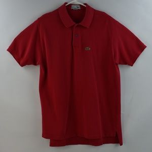 Lacoste Chemise Mens Red Polo Short Sleeve Large